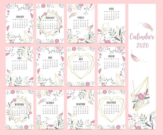 Doodle pastel boho kalender set 2020 met veer Premium Vector