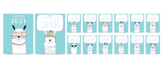 Doodle pastel kalender set met lama voor kinderen. Premium Vector
