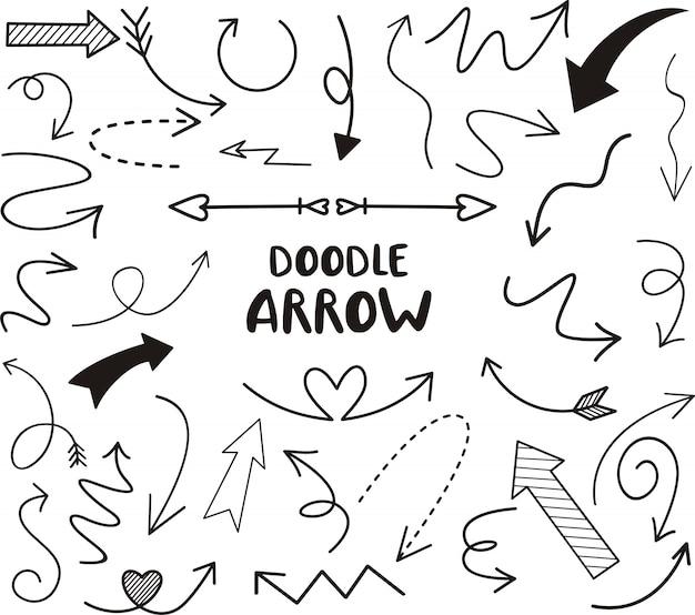 Doodle pijl set, vectorillustratie Premium Vector