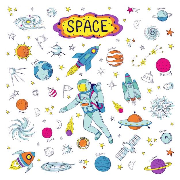 Doodle ruimte. kosmos trendy kinderpatroon, handgetekende raket ufo universum meteoor planeet grafische elementen. astronomie schets ruimtevaartuig illustratie set Premium Vector
