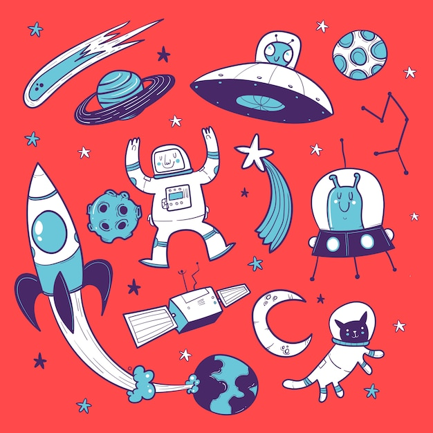 Doodle ruimte, planeten, astronaut, raket en sterren Premium Vector