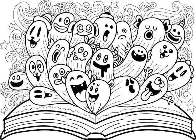 Doodle schattig monster met open boek Premium Vector