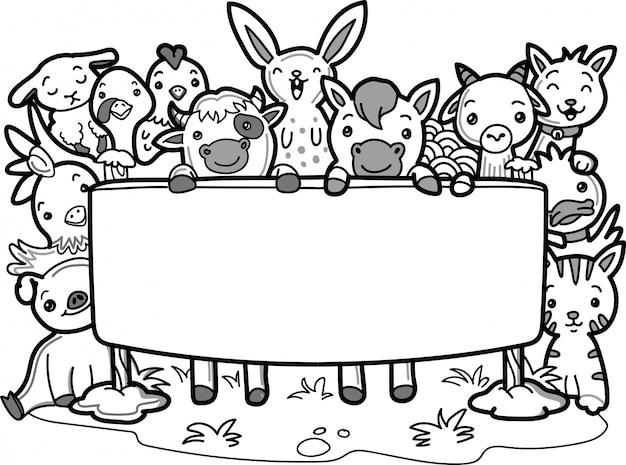 Doodle schattige boerderijdieren met lege prikbord Premium Vector