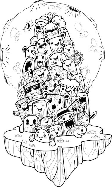 Doodle schattige halloween monster Premium Vector