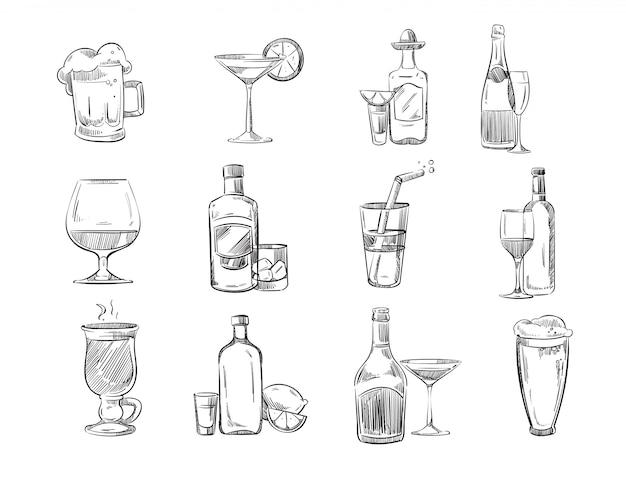 Doodle schets cocktails en alcohol drankjes in glas Premium Vector