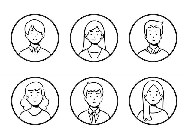 Doodle set avatar kantoormedewerkers, vrolijke mensen, handgetekende pictogramstijl, karakterontwerp, illustratie. Premium Vector