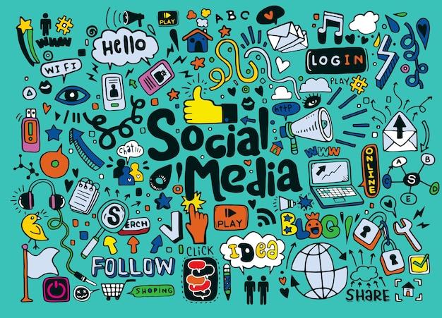 Doodle set objecten en symbolen op de sociale media Premium Vector