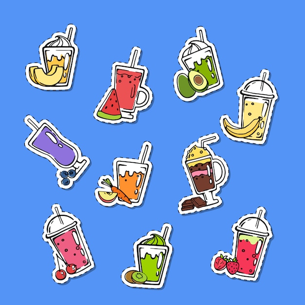 Doodle smoothie stickers set Premium Vector