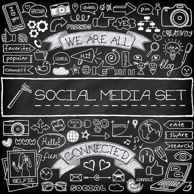 Doodle sociale media pictogrammen instellen met schoolbord effect Premium Vector