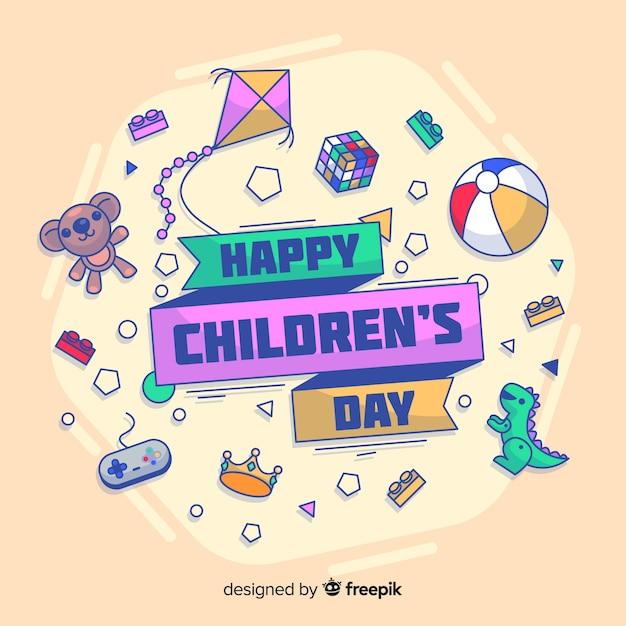 Doodle speelgoed kinderen dag achtergrond Gratis Vector