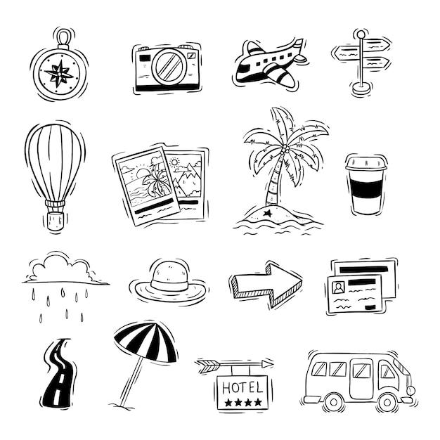 Doodle stijl van schattige reizen pictogrammen of elementen op wit Premium Vector
