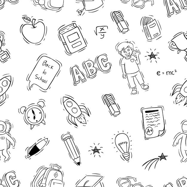 Doodle stijl van terug naar school illustratie in naadloos patroon Premium Vector