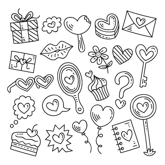 Doodle valentijnsdag element collectie Gratis Vector