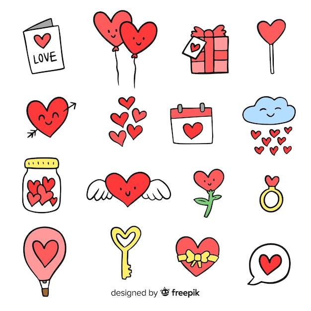 Doodle valentine elementen pack Gratis Vector