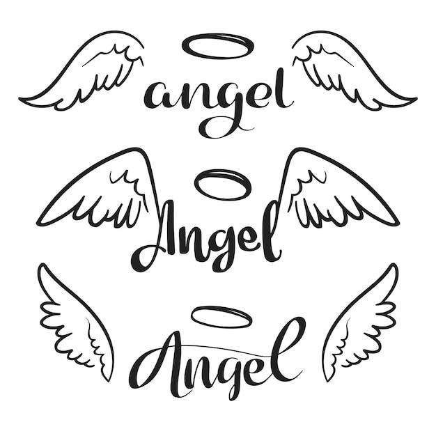 Doodle vliegende engelenvleugels met halo. schets engelachtige vleugels. vrijheid en religieuze tattoo vector ontwerp geïsoleerd Premium Vector