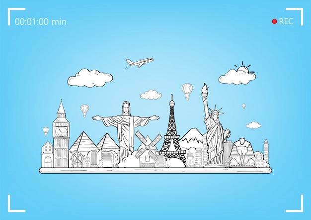 Doodle vliegtuig rond de wereld concept zomer vliegtuig luchtfoto check-in met top wereld beroemde bezienswaardigheid. Premium Vector