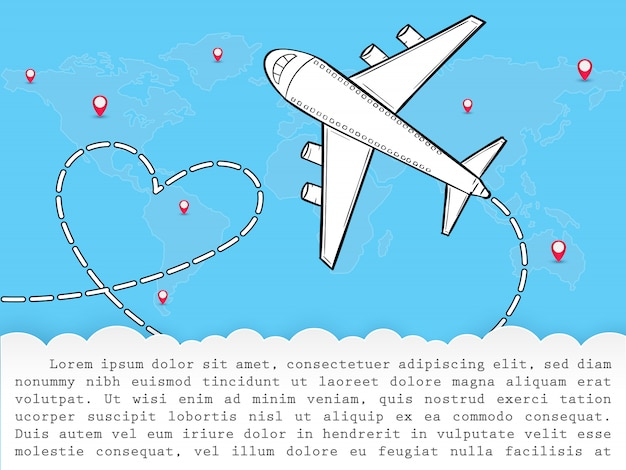 Doodle vliegtuig rond de wereld zomer banner vliegtuig antenne. Premium Vector
