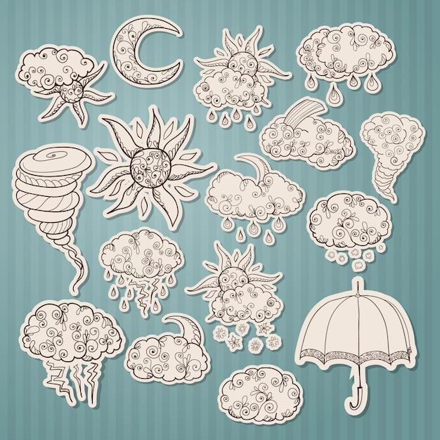 Doodle weersvoorspelling stickers Gratis Vector