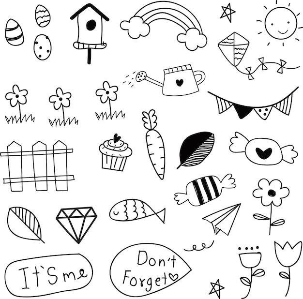 Doodle zomer collectie patroon Premium Vector