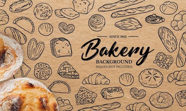 Doodles achtergrond voor bakkerij Gratis Vector