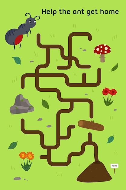 Doolhof voor kinderen werkblad voor kinderen Gratis Vector