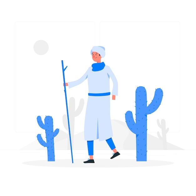 Door het concept van de woestijnillustratie Gratis Vector