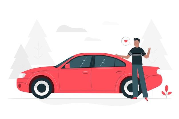 Door mijn auto illustratie concept Gratis Vector