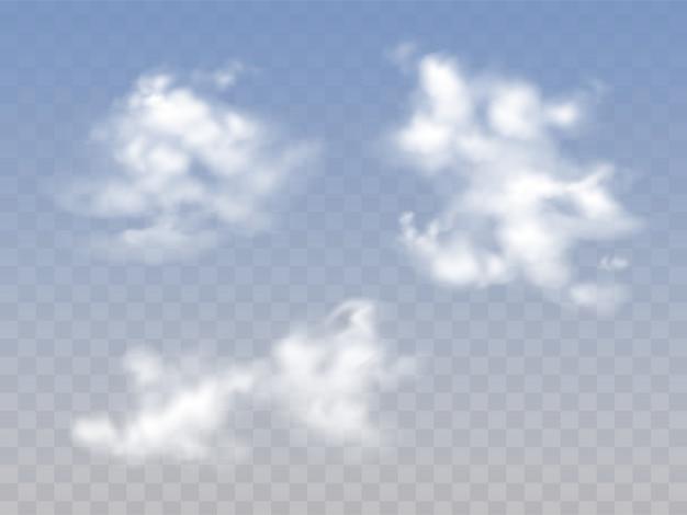 Doorzichtige blauwe bewolkte hemel met realistische pluizige wolken Gratis Vector