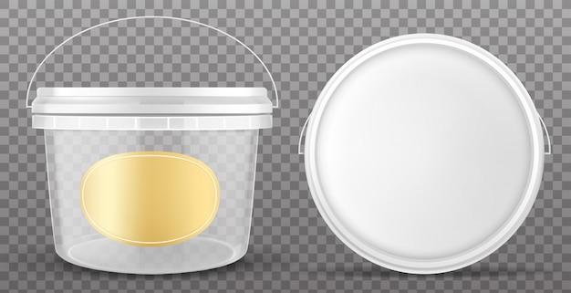 Doorzichtige plastic emmer met geel etiket en wit deksel Gratis Vector