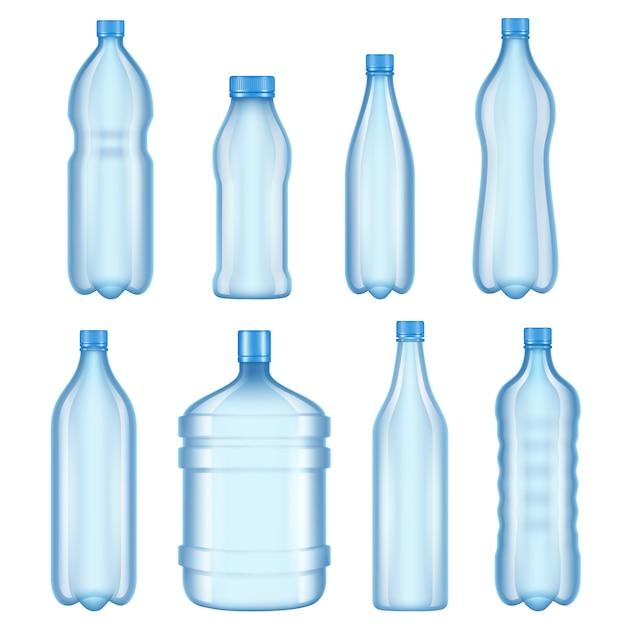 Doorzichtige plastic flessen. vectorillustraties van flessen voor water Premium Vector