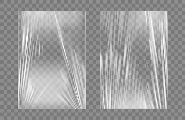 Doorzichtige stretch plastic wikkel textuur set. Premium Vector