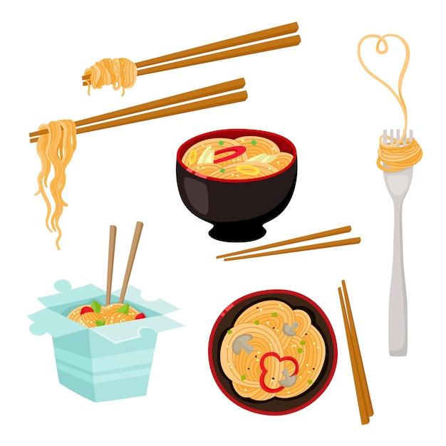 Doos, kom, vork en eetstokjes noodle set Premium Vector