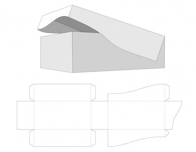 Doos met de basis en het deksel aan elkaar gestanst sjabloon Premium Vector