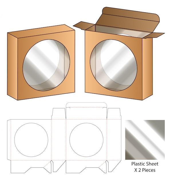 Doos verpakking gestanst sjabloonontwerp. 3d-sjabloon Premium Vector