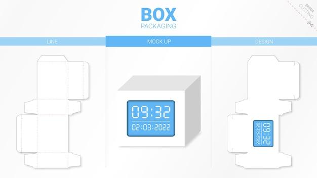 Doosverpakking en moackup gestanst sjabloon Premium Vector