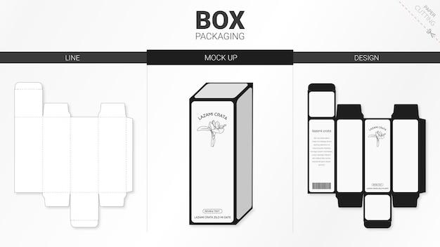 Doosverpakking en mockup gestanst sjabloon Premium Vector