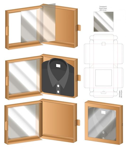Doosverpakking gestanst matrijsontwerp. 3d mock-up Premium Vector