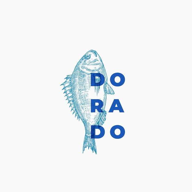 Dorado abstract teken, symbool of logo sjabloon. hand getrokken schets vis met stijlvolle moderne typografie. Gratis Vector