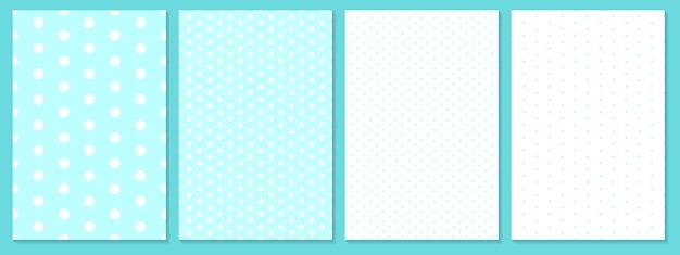 Dot patroon ingesteld. baby achtergrond. blauwe kleur. polka dot patroon. Premium Vector