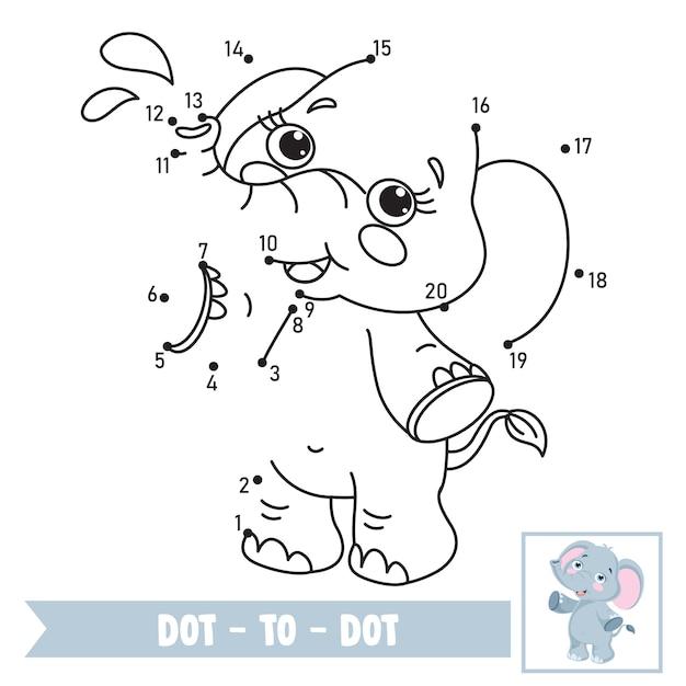 Dot to dot game illustratie voor kinderen onderwijs Premium Vector