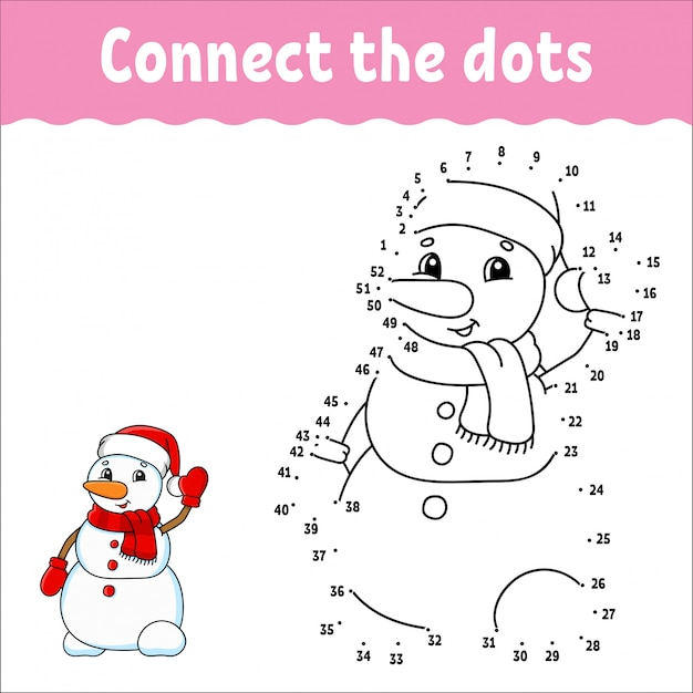 Dot to dot game. teken een lijn. kerst sneeuwpop. voor kinderen. activiteit werkblad. Premium Vector