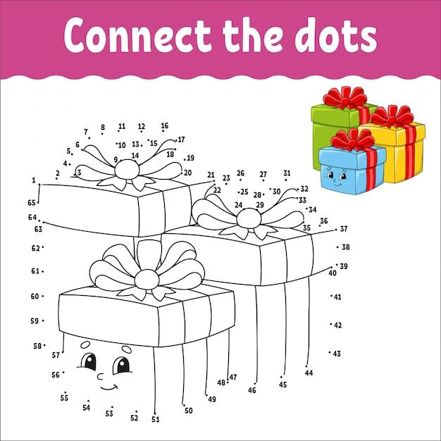 Dot to dot game. teken een lijn. vakantie dozen met geschenken versierd met linten met strikken. Premium Vector
