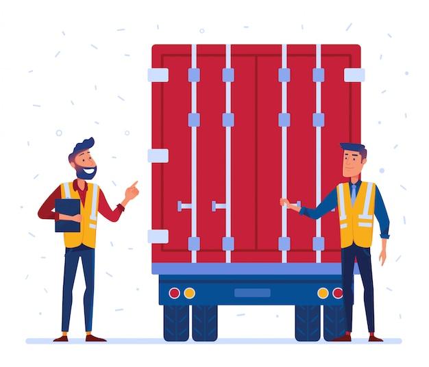 Douane en grens vrachtwagen inspectie Premium Vector