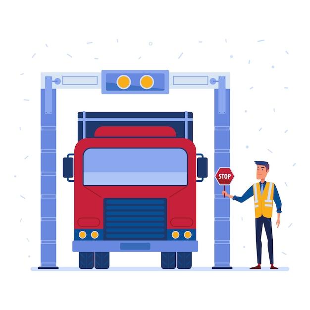 Douane vrachtwagen vracht scanner Premium Vector