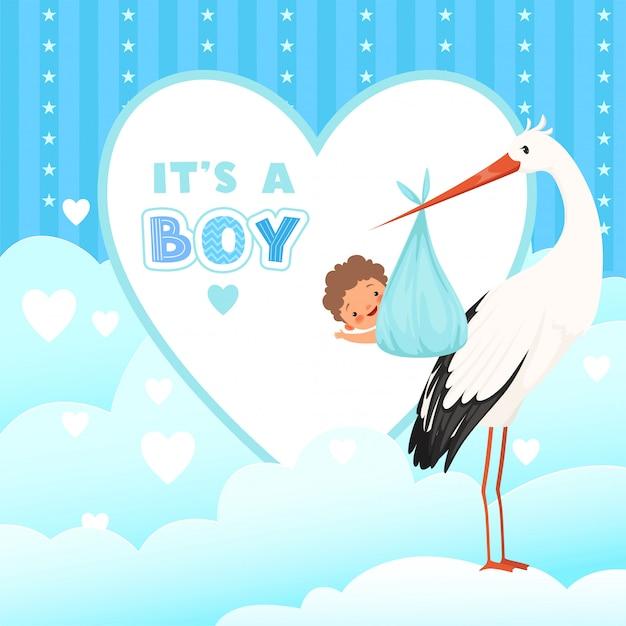 Douchekaart met ooievaar, vliegende vogel met pasgeboren babygift, cartoonachtergrond voor etikettenbadges Premium Vector