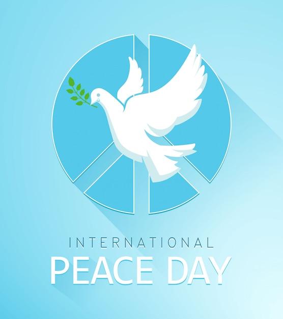 Dove of peace met olijftak en een vredesteken. de poster voor de vredesdag. illustratie Premium Vector