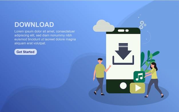 Download bestemmingspagina sjabloon. platte ontwerpconcept webpaginaontwerp voor website. Premium Vector
