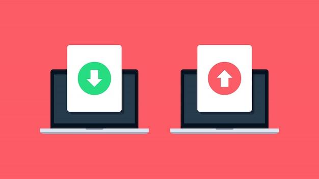 Download en upload bestand op laptoppictogrammen Premium Vector