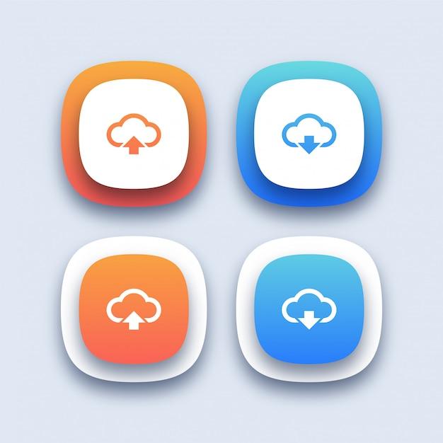 Download en upload pictogrammen Premium Vector