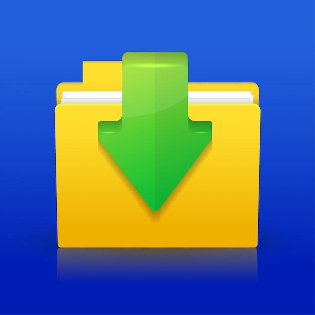 Downloadpictogram op blauwe achtergrond. Premium Vector